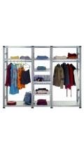 Foto: Super1-Regal mit Kleiderstange und Sortierwannen