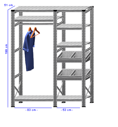 Details / Artikel konfigurieren - Begehbarer Schrank Super 1 - T200-51-22
