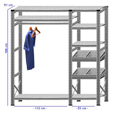 Details / Artikel konfigurieren - Begehbarer Schrank Super 1 - T200-51-24