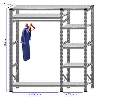 Details / Artikel konfigurieren - Begehbarer Schrank Super 1 - T200-61-23