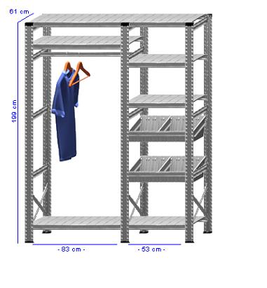 Details / Artikel konfigurieren - Begehbarer Schrank Super 1 - T200-61-22