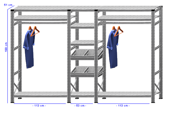 Details / Artikel konfigurieren - Begehbarer Schrank Super 1 - T200-51-34