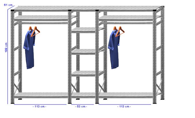 Details / Artikel konfigurieren - Begehbarer Schrank Super 1 - T200-61-33