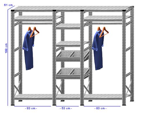 Details / Artikel konfigurieren - Begehbarer Schrank Super 1 - T200-61-32