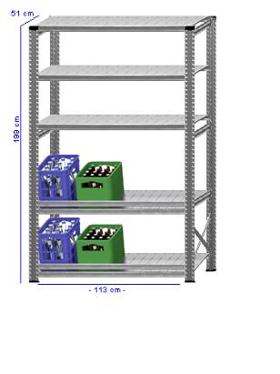 Details / Artikel konfigurieren - Getränkekistenregal Super 1 - GKR200-51-15