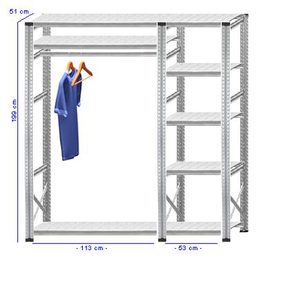Details / Artikel konfigurieren - Begehbarer Schrank Super 1 - T200-51-23
