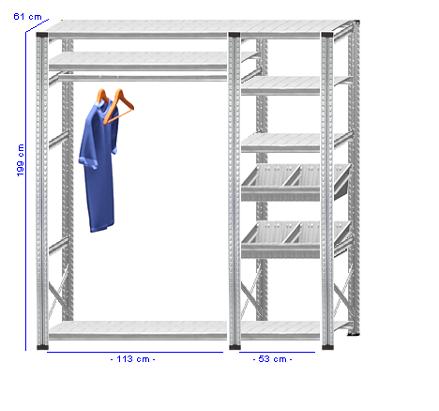 Details / Artikel konfigurieren - Begehbarer Schrank Super 1 - T200-61-24