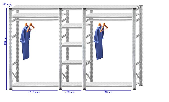 Details / Artikel konfigurieren - Begehbarer Schrank Super 1 - T200-51-33