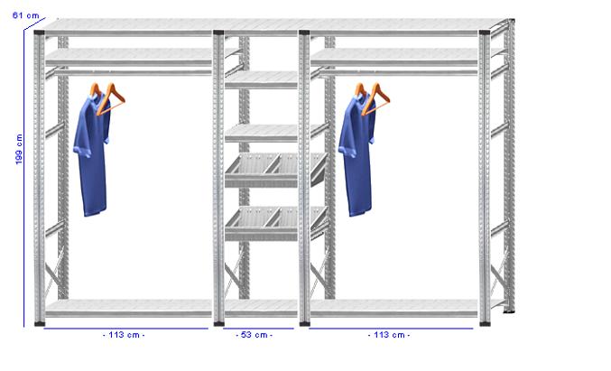 Details / Artikel konfigurieren - Begehbarer Schrank Super 1 - T200-61-34